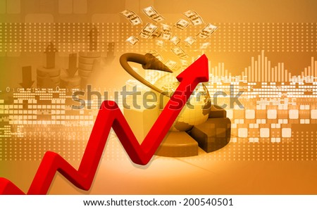 Business growth graph with world  - stock photo