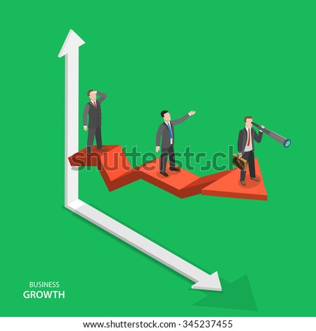 Business growth isometric concept. Team of businessmen are on arrow graph moving to success. Team work, leadership, way to success.