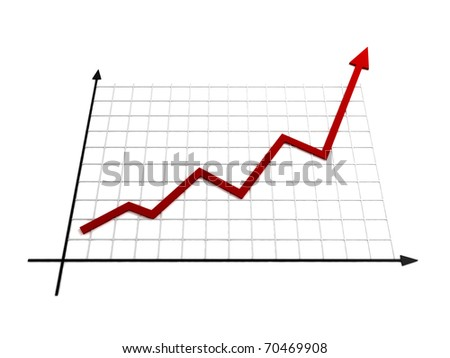 Business growth - Line Chart - 3D illustration