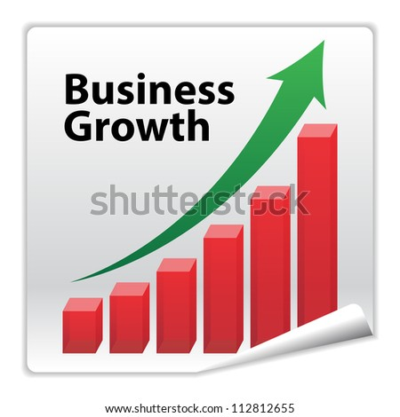 Business Growth paper icon concept with red graph and green arrow - stock photo