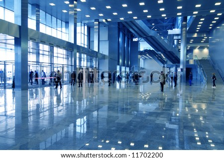 business hall blue - stock photo