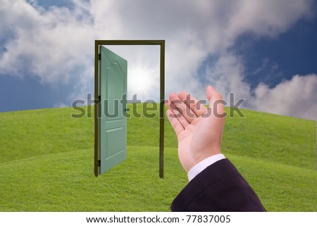 business hand and the door concept for open to business
