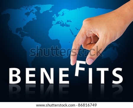 Business hand and word benefits - stock photo