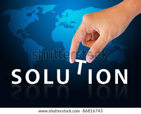 Business hand and word solution - stock photo