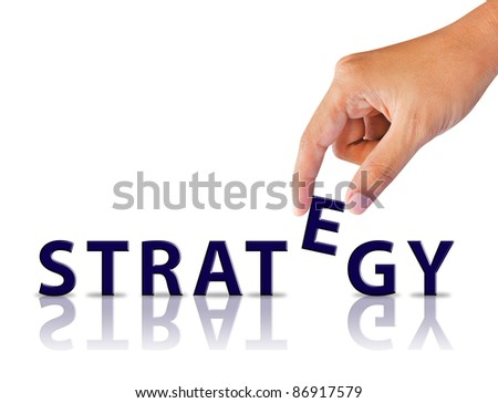 Business hand and word strategy - stock photo