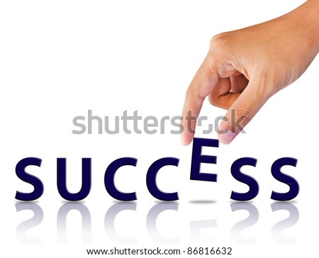 Business hand and word success - stock photo