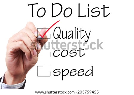 business hand checking the checklist boxes to do list quality cost speed by pen on transparent glass  - stock photo