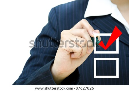Business hand choosing mark the check boxes of many options. - stock photo