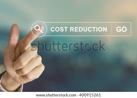 business hand clicking cost reduction button on search toolbar with vintage style effect - stock photo