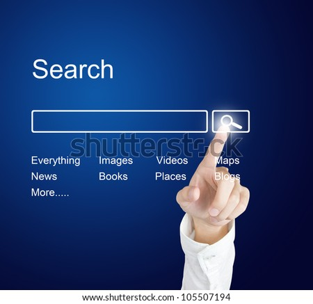 business hand clicking internet search page on computer  touch screen