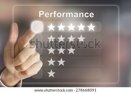 business hand clicking performance on virtual screen interface - stock photo