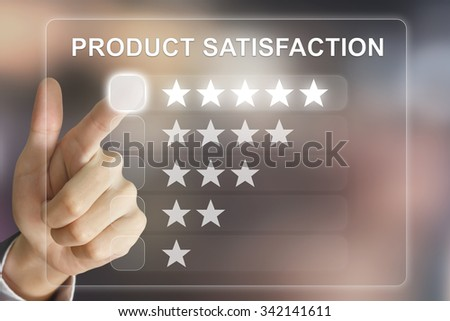 business hand clicking product satisfaction on virtual screen interface - stock photo