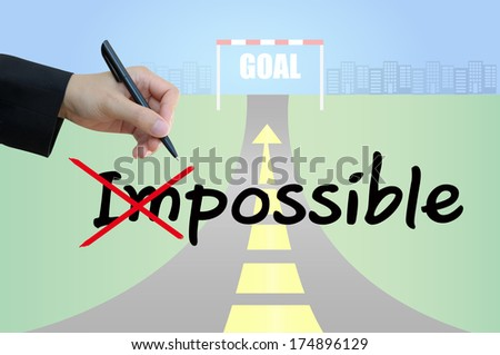 Business hand cross impossible to possible and highway road going up as an arrow background - stock photo