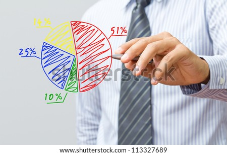 Business hand drawing a chart - stock photo