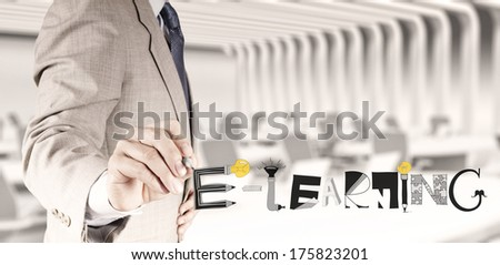business hand drawing design graphic handdrawn E-LEARNING word  as concept - stock photo