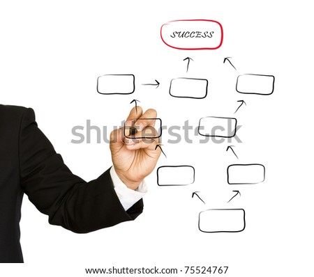 Business Hand drawing in whiteboard, isolated on white - stock photo
