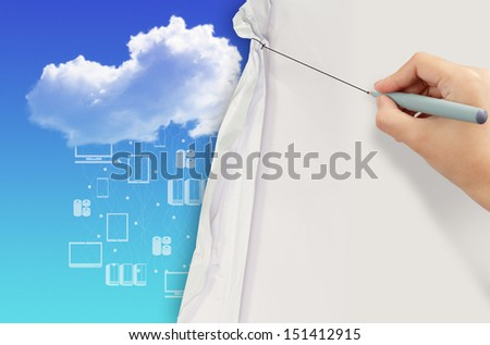 business hand draws rope open wrinkled paper show cloud networking as concept - stock photo