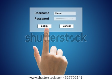 Business hand enter the password for internet connection. - stock photo