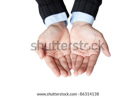 business hand for show something in her hand - stock photo