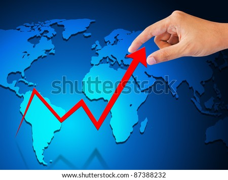 business hand graph success and growth