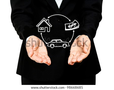 business hand hold Insurance business concept - stock photo