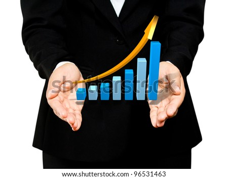 Business hand hold rising blue graph - stock photo