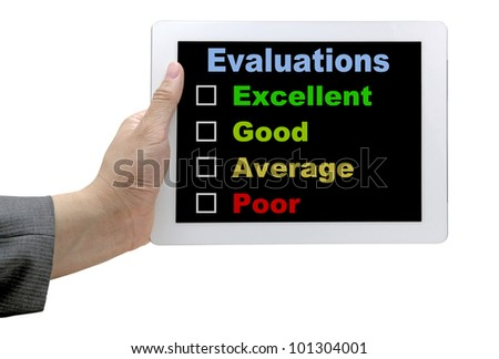 Business  Hand Hold Technology Tablet With Performance Evaluation Audit Checklist - stock photo
