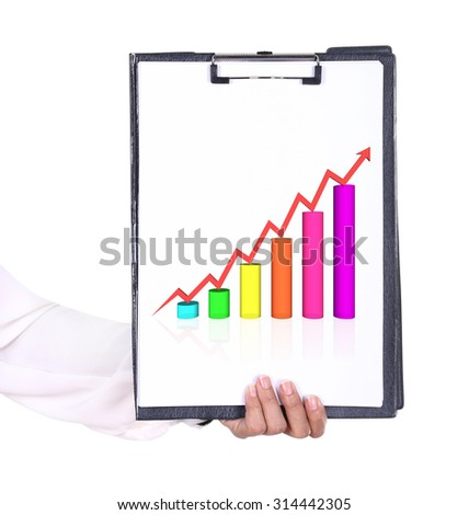 business hand holding a clipboard with business graph chart