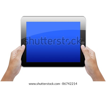Business hand holding a tablet isolated on white - stock photo
