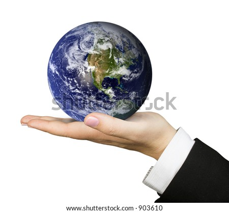 business hand holding globe - stock photo