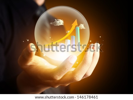 Business hand holding  hot chart - stock photo