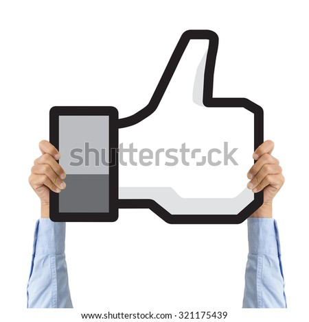 business hand holding like icon - stock photo