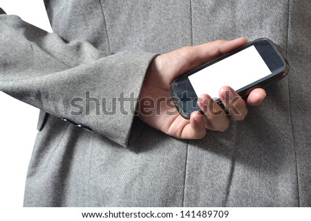 Business Hand holding smart phone (Mobile Phone).