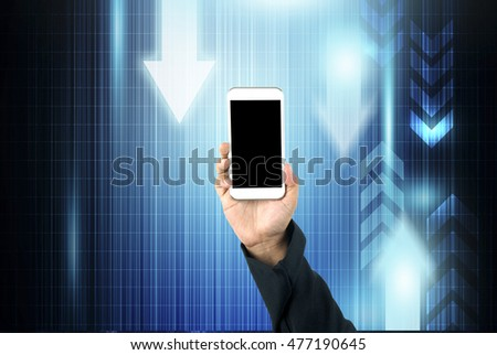 Business hand holding smart phone on technology background