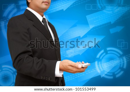 Business Hand holding smart phone with digital background