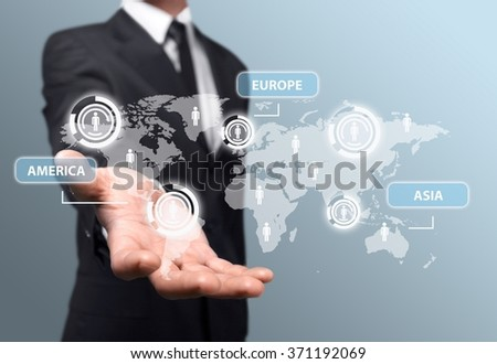 Business hand illustration. - stock photo