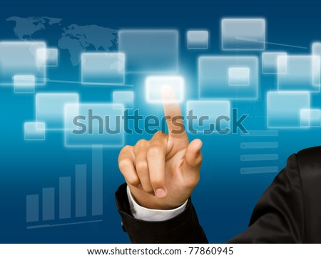 Business hand on the flow of several button - stock photo