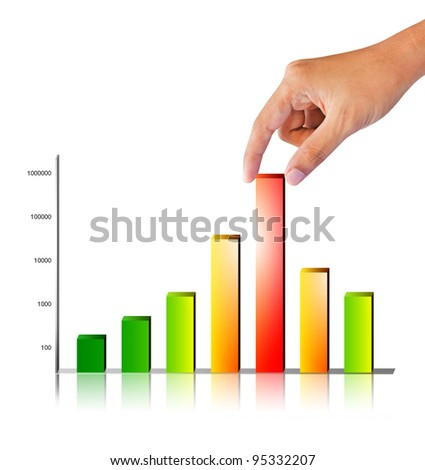 Business hand pick high graph on white background