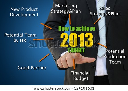 Business hand pointing how to achieve 2013 target - stock photo
