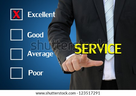 Business hand pointing service of questionnaire for excellent concept - stock photo