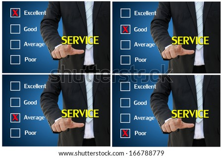 Business hand pointing set of service assessment for performance evaluation and analysis concept - stock photo