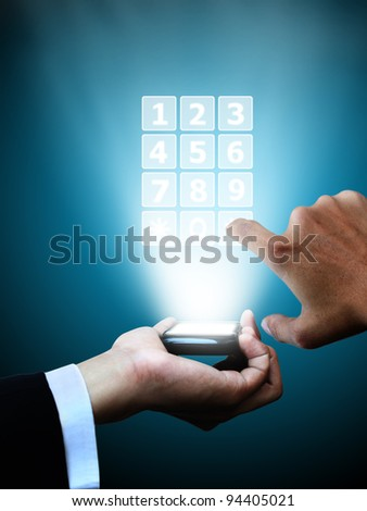 Business hand press mobile phone - stock photo