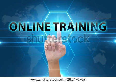 business Hand pressing online training button on virtual screens - stock photo