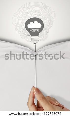 business hand pull rope open wrinkled paper show cloud network icon design text as concept - stock photo