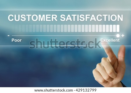 business hand pushing excellent customer satisfaction on virtual screen interface - stock photo