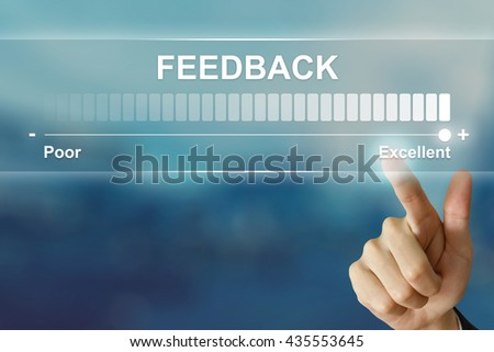 business hand pushing excellent feedback on virtual screen interface - stock photo
