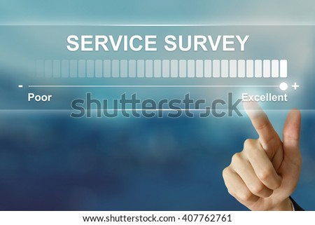 business hand pushing excellent service survey on virtual screen interface - stock photo