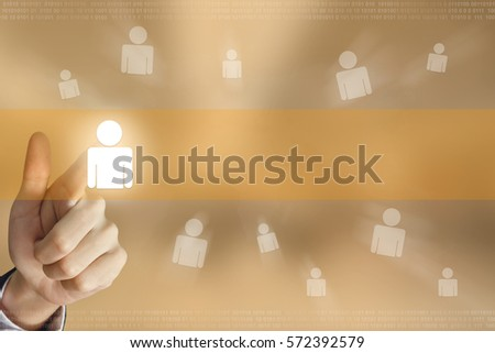business hand pushing people button, business concept