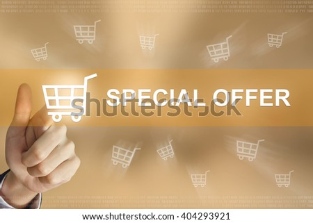 business hand pushing special offer button, business concept