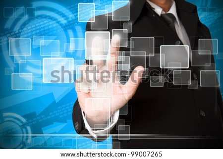business hand pushing the virtual button as concept - stock photo